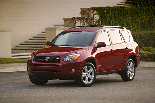 Toyota RAV4 Base MSRP: $21,250 - $23,505 Toyota's RAV4 compact SUV was given an overhaul in 2006 that included a new 269-horsepower V-6 and a Sport trim level. It goes into 2008 with minor changes. The RAV4 can be fitted with an optional third-row seat as well as front- or all-wheel drive. The RAV4 steers with a light touch and is easy to drive and maneuver; a compliant suspension gives it a pleasing ride. The new model doesn't feel as big as its enlarged dimensions suggest, and despite space for a third-row seat it's still a relatively small SUV. (Toyota)