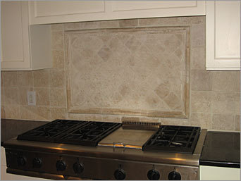 tumbled marble and six-burner gas stove and