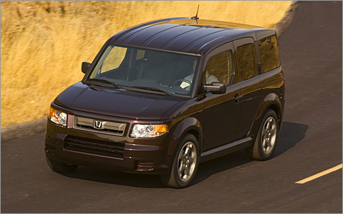 Honda Element Base MSRP: $18,980 - $23,575 The gray plastic body cladding was gone for the 2007 model year, making the Element less ugly, and the 2008 doesn't bring any new changes. It's an interesting ride nonetheless, with suicide doors on both sides and an interior that's supposed to be scratch, stain, and water resistant. The SC adds some Scion flair with 18-inch wheels, a lower ride height, and an aero kit. If you're not straying into the wilderness, get the SC. It looks and plays the part of urban chic much better than the standard Element. (Honda)