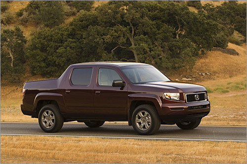 Honda Ridgeline Base MSRP: $28,000 - $35,090 For the truck crowd, a 3.5 liter V-6 and unibody construction will never give the Ridgeline street cred. It does please those who don't need massive Detroit iron, and those who demand more than a compact pickup like the Chevrolet Colorado. Most important, it's the carlike demeanor and Honda resale value that draws buyers to the Ridgeline, which has big-truck style without looking too hulking. The five-foot bed is adequate for moderate loads at Home Depot, and that's plenty good for this crowd. (Honda)