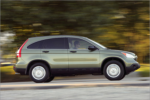 Honda CR-V Base MSRP: $20,700 - $28,400 The 2008 CR-V is a carryover from last year's redesign except for an eight-way power driver's seat and dual-zone climate control for the top-level EX-L. The 166-horsepower four-cylinder isn't powerful, and the thick D-pillars make visibility tougher than in the previous generation. Handling is a strong suit of the car-based SUV, which offers a quiet and comfortable ride. Critics have assailed the CR-V for not offering third-row seating, but this is a compact SUV and doesn't need them (those critics wouldn't like sitting there anyhow). A hybrid version to compete against the Ford Escape Hybrid and Toyota Highlander Hybrid would be a welcome addition. (Honda)