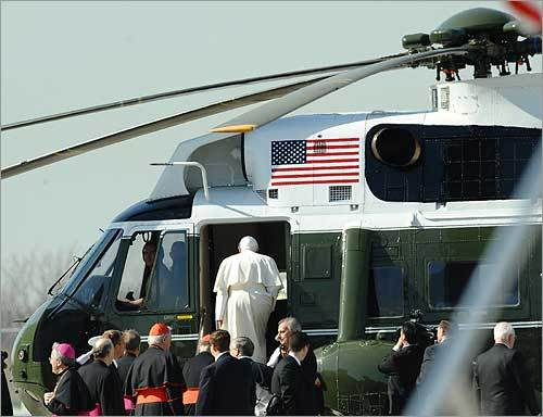 A military helicopter took the pope from JFK to Manhattan.