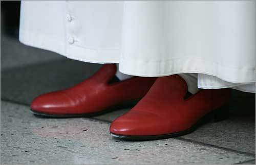 The pope's trademark red shoes.