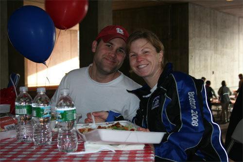 Austin Penear, 27, and Megan Steward, 28, both of St. Louis, carbo-loaded before Steward's first Boston Marathon.