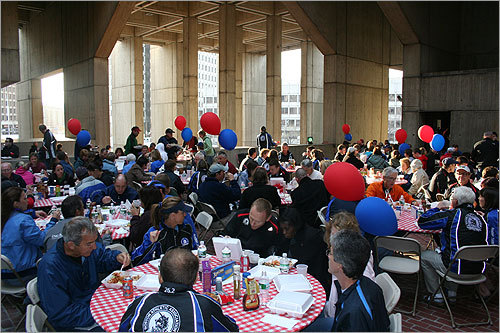 The inside of City Hall was packed with tables of hungry runners and supporters.