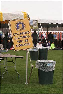 Runners were warned not to leave behind clothing that they expected to pick up after the race.