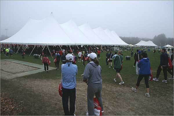 Runners headed to the tent in Hopkinton before the race began.