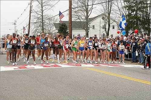 Elite women runners gathered at the starting line for the 2008 Boston Marathon.