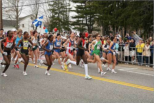 Joan Benoit Samuelson fired the starter's gun in Hopkinton and the 33 women in this exclusive field were off on their 26.2-mile dash to Boston.