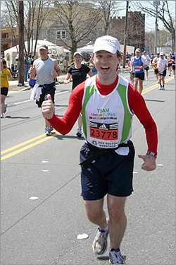 Karen Grant took this shot of Brandon Magnuson, who ran for Team Hole in the Wall, in Natick.