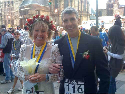 Brian Heffron submitted this photo of Ken Pliska, formerly of Bedford, and Deb Spence of Arvada, Colorado. Pliska and Spence exchanged wedding vows after they both finished the marathon -- he in 2 hours, 42 minutes, she in 4 hours, 20 minutes.