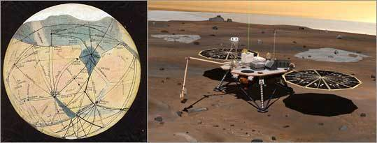 At left, a colorized version of a 1905 drawing of Mars by Lowell; at right, an artist's concept of the Phoenix Mars lander.