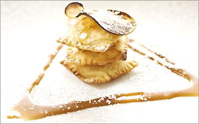 Roasted apple ravioli photographed at Benatti