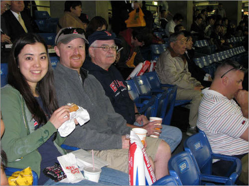 Maiko Friedlander of Tokyo, Joshua Friedlander of Nashua, and Don Cannata of Dorchester took in one of the first Sox games of the season at Japan's Tokyo Dome.