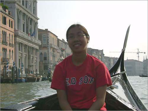 Shelley Cheung, formerly of Quincy but now of Verona, N.J., sent along this photo of her post-college backpacking trip through Europe in 2006. Here she sports a Red Sox shirt while aboard a gondola in Venice.