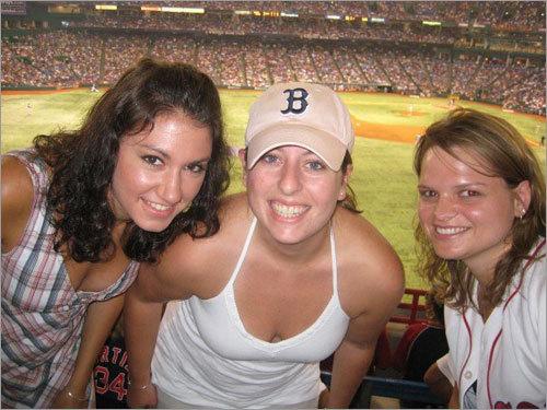 Nicole Alexander of Chicago, Ill., Elizabeth Sullivan of Norwood and Audrey Green of Worcester now reside in Jacksonville, Fla. and recently took in this Sox game at Tampa Bay's Tropicana Field.