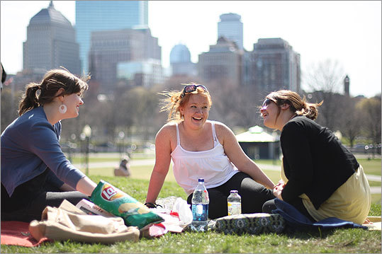 Girls picnicking on boston Common
