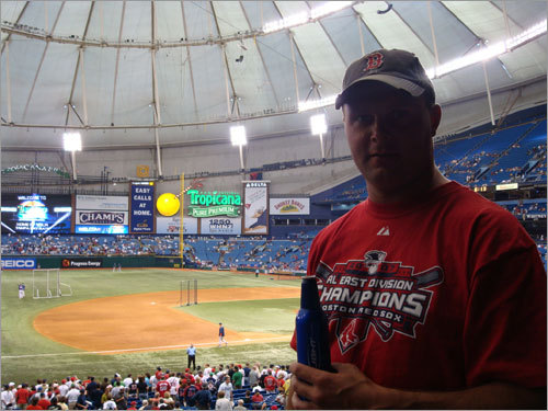 Steve Zebrowski from Northampton takes in the first Rays-Sox series in Tampa Bay, in April 2008.