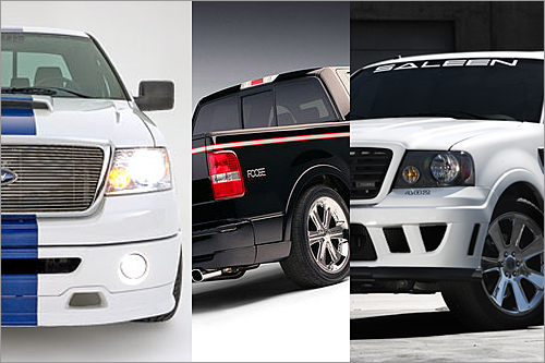 Foose/Roush/ Saleen F-150s Least efficient standard pickup EPA City/Highway: 11/15 Three of the most respected names in Ford tuning - Chip Foose, Jack Roush, and Steve Saleen - have their names tattooed on the EPA's wall of shame. None of the F-150s pictured here make less than 445 horsepower, and all enjoy lots of boy-racer goodies: stripes, chrome rims, huge air intakes, and custom trim, to name a few. Ford was worried about fuel economy when it discontinued its hot-rod F-150 Lightening a few years ago, but these three steam ahead, very quickly. (Ford Motor Co./Roush Performance Products, Inc./Saleen, Inc.)