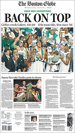 The Boston Celtics took the NBA championship title after winning game 6 at home Tuesday night. Take a look at Wednesday morning's front pages from around New England celebrating the Celtics' victory over the Lakers. The front page of the Boston Globe featured a large image of the NBA title champs celebrating their 131-92 win over the Lakers.