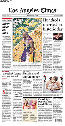 The Los Angeles Times took a different tack, choosing to run a photo of LA Lakers star Kobe Bryant in the aftermath of his team's loss to the Boston Celtics Tuesday night.