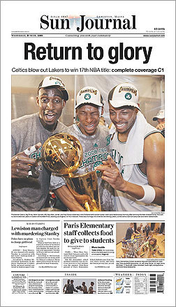 The Sun Journal of Lewiston, Maine, ran a photo of Kevin Garnett, Ray Allen, and Paul Pierce on its front page.