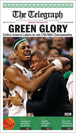 An image of Paul Pierce hugging coach Doc Rivers spread out across the front page of the Telegraph, a newspaper based out of Nashua, N.H.