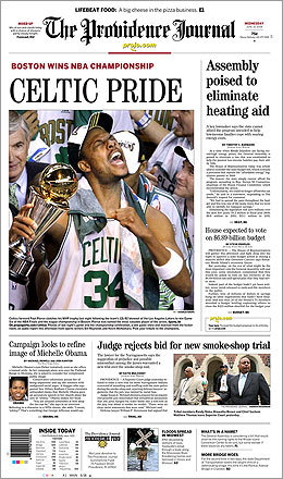The Providence Journal's front page showed Celtics captain Paul Pierce clutching his MVP trophy after the Celtics won their 17th NBA title.