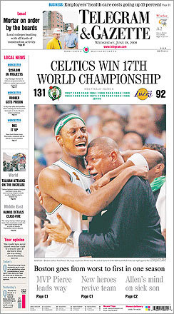 Worcester's Telegram & Gazette celebrated the Celtics' NBA championship title by running a photo of Paul Pierce embracing coach Doc Rivers.