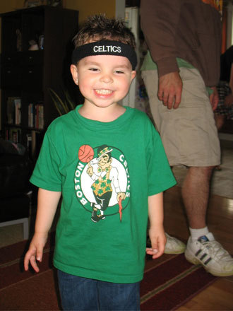 Ryan Barros, 3, could barely wait to see Kevin Garnett win it all. Send us your Celtics fan photos!
