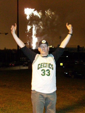 The Celtics celebration after the final game extended across the border to Vancouver, Canada, as a few dedicated fans set off fireworks to mark the victory. Send us your Celtics fan photos!