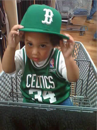 Little Eric represented the Celtics in Atlanta. Eric will soon have two more Celtics fans in the house because his mother is having twins. Send us your Celtics fan photos!