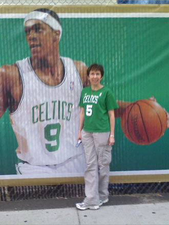 Marianne posed with a poster of Rondo before Game 6. Send us your Celtics fan photos!