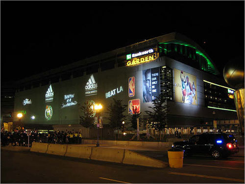 The view outside the stadium the night of the final game showed 'Beat LA' on the outside walls of the arena. Send us your Celtics fan photos!