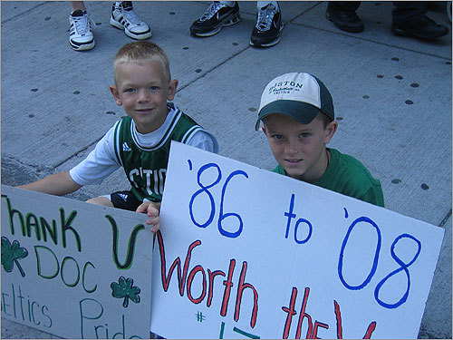 Two young Celtics' fans showed their appreciation for the championship win.