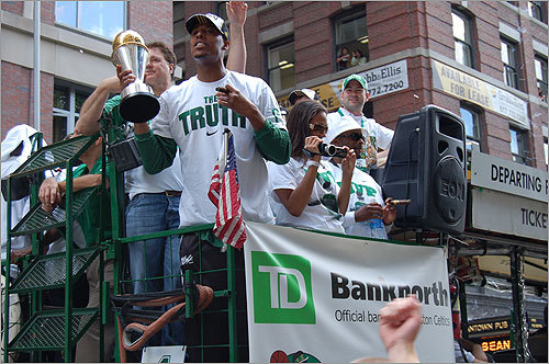 Another angle of Pierce, who wore a 'The Truth' t-shirt.