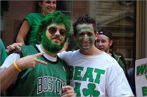Two parade-goers showed their Celtic pride.