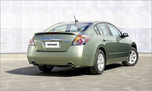 Nissan Altima Hybrid Count yourself lucky if you live in Massachusetts. For some reason the Altima Hybrid is available only here and in seven other states including Connecticut and California. The 12 mile per gallon bump in the city to 35 should be available everywhere, especially since it's neck-and-neck with the Camry Hybrid in both mileage and price. Thankfully, the Altima weighs about 200 pounds less than the Camry, and you can thank Nissan for injecting some decent sport into the suspension. (Nissan)