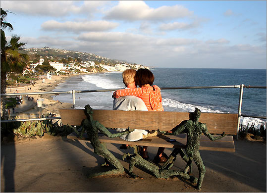 Artful bench offers a Pacific view at the Inn at Laguna Beach.