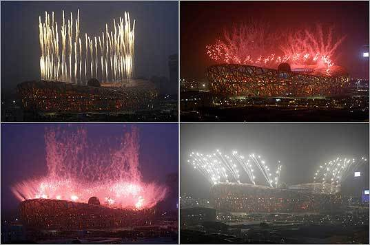 Fireworks exploded over the Olympic National Stadium, also know as the Bird's Nest, in these photographs during a rehearsal for the opening ceremony for the 2008 Beijing Summer Olympic Games at the Olympic Green in China on Wednesday.