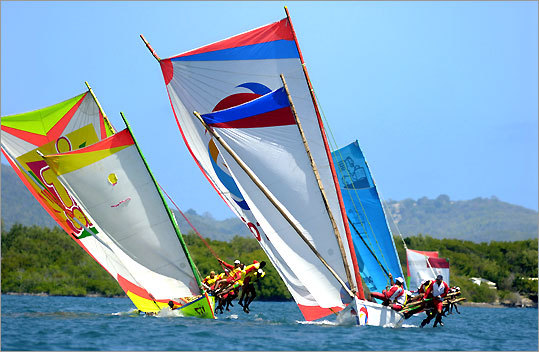 A party atmosphere attends Martinique's Yole Rondes, with the boats ending each leg of the race in a different town.