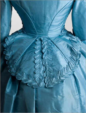 Made of blue silk, Jeannette Forrester Renton's wedding dress dates back to 1872.