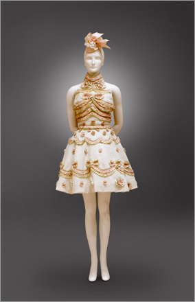 This wedding cake dress, by French fashion designer Christian Lacroix, comes from the collection of Sandy Schreier.