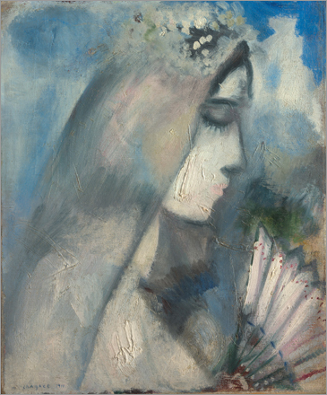 'Bride with Fan,' an oil painting by Marc Chagall, from 1911.