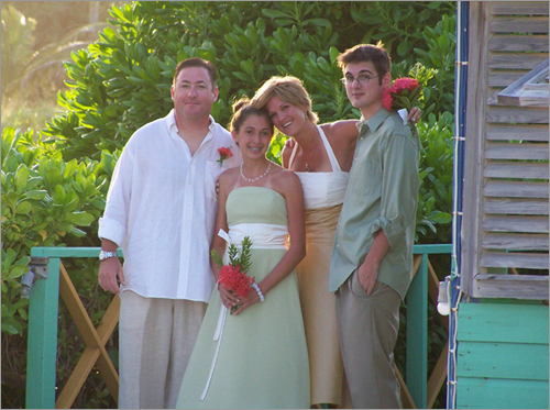 Sharon and Tom's wedding Sharon Bingham and Tom Kendrew were married on the island of Nevis, off the coast of St. Kitts on Nov 3, 2007. Almost 20 guests flew in from various parts of the country for the wedding. Pictured is the bride and groom along with Bingham's two children, Gabrielle and Michael.