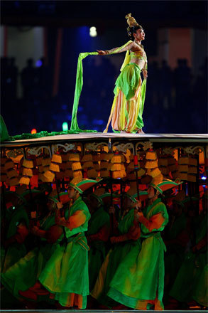 An artist performed on top of a stage supported by other performers in one of the many forms of entertainment showcased during the evening.