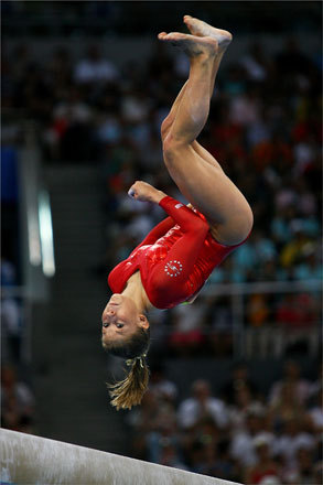 Shawn Johnson of the United States, who was often called a 'rock' by commentators, competed on the balance beam during Day 7 of the Beijing Olympics.