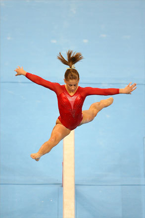 Shawn Johnson of the United States performed on the balance beam.