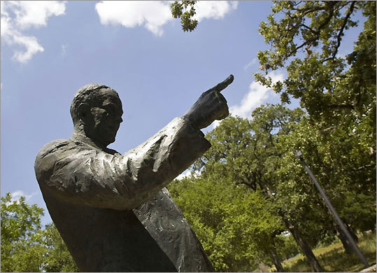 The state park's LBJ statue was dedicated in 1974.