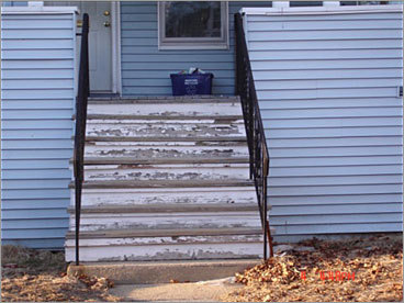 BEFORE Location: Front stairs 'The front stairs were old and out of code,' according to Boulas. 'Not a single riser on the stairs was the same size, creating a potential hazard.'